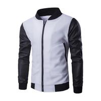 Wholesale purple leather bomber jacket - Men Fashion Design Coat New white Baseball Jacket & Black Pu Leather Sleeve Mens Slim zipper bomber Autumn Winter Jacket Brand Homme
