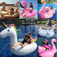 Bath Toys outdoor lighting parts - Party Toys Water Parks Adult Swimming Ring Giant Inflatable Flamingo Unicorn Pizza Swan Pool Float Inflatable Water Pool Toys