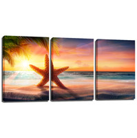 Wholesale Sunset Sea - 3 Pieces Canvas Wall Art Sunset Sea Star Canvas Painting Seascape Wall Art Oil Painting on Canvas for Living Room Bedroom Wall Decorations