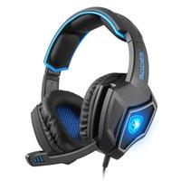 Wholesale Wolf Headband Wholesale - Sades Spirit Wolf 7.1 Surround Sound USB Gaming Headphones Headset W Mic for PC