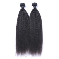 Wholesale natural hair color dyes - Brazilian Virgin Human Hair Kinky Straight Unprocessed Remy Hair Weaves Double Wefts 100g Bundle 2bundle lot Can be Dyed Bleached