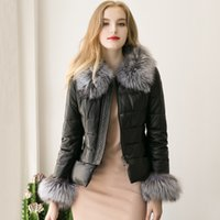 Wholesale Black Quilted Leather Jacket - 2017 New Winter Fox Fur Collar PU Leather Jacket For Women Slim Warm Quilted Zipper Jackets Coats Black Parka Jacket Outwear S-3XL FS0948