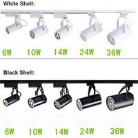 Wholesale led ceiling track - Black White Shell 6W 10W 14W 24W 36W Led Track Lights 30 Angle Warm Natural Cool White Led Ceiling Spot Lights AC 85-265V