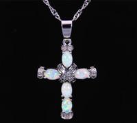 Wholesale Fire Stone Necklace - Christian Cross White Fire Opal Stone Silver Plated Pendants For Women PJ16011004