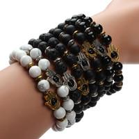 мала черное золото оптовых-Wholesale-Drop Shipping!!! 8mm Natural Black Lava Energy Stone  Bracelet Gold Hamsa Hand Charm Bracelet Yoga Mala Bracelets F2830