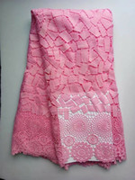 Wholesale African Fabric Lace Pink - 5Yards pc Top sale pink flower french guipure lace embroidery african water soluble lace fabric for dress CFW3-2