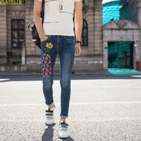 Wholesale Ankle Zipper Skinny Jeans - Summer New Men's Classic Brand Jeans Men's Cotton Snake Printed Jeans Ankle-length Pants Cotton Blue Size 28-34