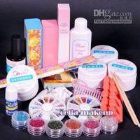 Wholesale Glue Kit Uv - PRO UV GEL NAIL KIT + 6 Powders Glues FILE BLOCKS Primier Tips kits Sets 268
