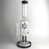 Wholesale Type Fans - 15 Inch New Bong Glass Water Pipes Thick Recyler Heady Glass Beaker Bongs with Two Layers Filter Rocket Reflow Fan Rotating the windmill