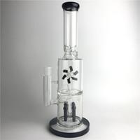 ветряная мельница оптовых-15 дюймов новый Бонг стеклянные трубы для воды толщиной Recyler пьянящий стеклянный стакан бонги с двумя слоями фильтра ракеты оплавления вентилятор вращающийся ветряная мельница