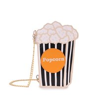 Wholesale Soda Pop - Wholesale- Cartoon printing lovely coffee Bags PU leather striped pop corn Messenger Bags fashion soda drinking bag Small Size handbags