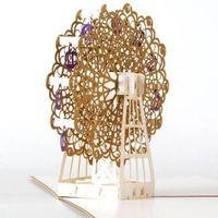 dönme dolap hediye toptan satış-(10 adet / grup) Hollow Altın Ferris Wheel El Yapımı Kirigami Origami 3D Pop UP Doğum Günü Partisi Hediye Için Tebrik Kartları Kartpostal