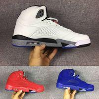 Wholesale Rubber Man Suit - 2017 Air Retro 5 blue suede Flight Suit West East Cement white red suede Mens Basketball Shoes sports shoes sneakers eur 41-47