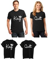Wholesale Crown Tee - 2017 new Fashion King Queen Crowns T-shirts Black Unisex Couple Lovers Short Sleeve Matching Couples His and Her T-Shirts - Tees