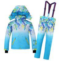 Wholesale Children Thermal Sets - Wholesale- Children Snowboard Suits Skiing Jacket Boys & Girls Winter Outdoor sports Coat Kids Climbing Thermal Waterproof Windbreaker Sets
