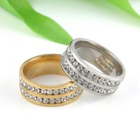 Wholesale- 1 PC Gold Silver Crystal Rings Femmes Acier inoxydable Wedding Engagement Charm Rings For Women Fashion Jewelry Taille 8 9 10