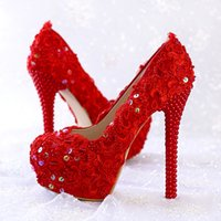 Wholesale Pump Up Pictures - New red lace pearl flower sequins diamond bride shoes high with waterproof picture taken wedding shoes women's shoes