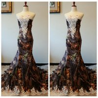 Wholesale Black Hippy - Camouflage White Lace Appliques Sweetheart Corset Mermaid Wedding Dress Camo Hippies Style Bridal Gowns 2017 Elegant