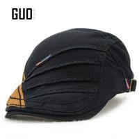 Wholesale Original Hats Wholesale - Wholesale-1 Original quality cotton Beret cap Adjustable Men's hat Simple and elegant Pure color Retro fashion outdoor anti-Sai visor