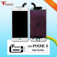 ecrãs oem lcd venda por atacado-Branco preto oem alta qualidade um +++ para iphone 6 display lcd touch screen digitador com moldura fria assembléia fone de ouvido anti-poeira malha