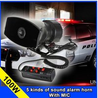 Wholesale Car Horns Alarm Systems - wholesale5 Tone Police horn alarm Siren 12v 100W Car motorcycle tape megaphone pa Speaker system+ Microphone