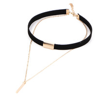 Wholesale Little Girls Jewelry Wholesale - Retro Leather Choker Necklace Double Layers with Little Stick Pendant Necklace for Women and Girls By Hcish Jewelry NJ30670