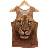 Wholesale Tank Top Leopard Print Man - Wholesale- Crop Top Men Tank Top Women Men 3D T Shirt Tanks Tops Vest Tees Animal leopard tiger cat wolf Printed t-shirt Sleeveless