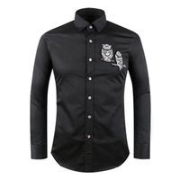 Wholesale Famous Owl - 2017 Paris designer brand Luxury Owl embroidery long sleeved men Dress shirts business casual shirts famous men shirts