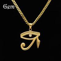 Wholesale pharaoh chain - 18KGold Hip Hop Cuban Chain Pendant Pharaoh Patron Saint Horus Eye Egyptian Amulet Eagle Head Eyes Pendant