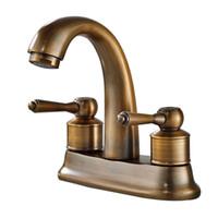 Wholesale antique brass bathroom faucet online - Rolya Antique Copper Bathroom Faucet Old Style Vintage Basin Mixer Set