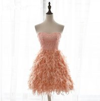 Wholesale Evening Coctail Dress - Pink Feather Prom Gowns Evening Dresses Knee Length 2016 Sexy V Neck Coctail Dress Short Black Cocktail Party Dresses