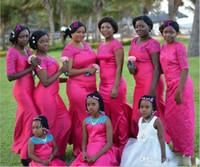 Wholesale Black Fushia Wedding Dress - Autumn Fushia Black Girl Mermaid Bridesmaid Dresses Short Sleeves And Long Sleeves Wedding Guest Dress Satin Scoop Square Jewel Party Dress