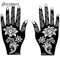 Wholesale Beautiful Woman Paintings - Wholesale-Hot 1 Pair Henna Tattoo Stencil Beautiful Flower Pattern Design for Women Body Hands Mehndi Airbrush Art Painting 20 * 11cm S125