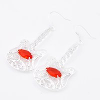 Wholesale Gem Guitars - 6 Pairs Luckyshine Horse Eye Fire Red Quartz Gems 925 Sterling Silverv Guitar Drop Earrings Russia Canada Drop Easter gift Earrings Jewelry