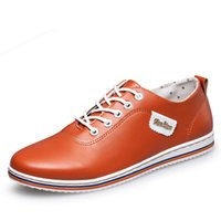 Wholesale Chic Casual Shoes - Spring Summer Men Shoes Casual Leather Shoes Men's Fashion Lace-up Flats Breathable Chic White Shoes for Male Footwear