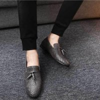 Famosa marca de luxo Designer Woven Genuine Leather Men Shoes Estilo britânico Primavera Outono Moda Casual Men Flats Loafer Tamanho 39-48