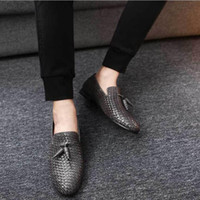 Wholesale British Shoes Women - Famous Luxury Brand Designer Woven Genuine Leather Men Shoes British Style Spring Autumn Fashion Casual Men Flats Loafer Size 39-48