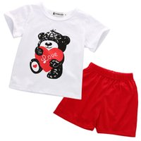 Wholesale Winter Lovely Bear Set - Wholesale- Summer Baby Kids Boys Girls Lovely Bear pattern T-shirt Shorts and Red Pants Outfits Clothes Sets Age 0-24Months