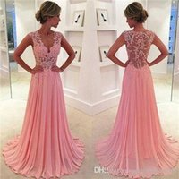 Wholesale Shirred Dress Straps - 2016 Hot Sales Lace Prom Dresses Sexy Sheer Crystals Beaded Bodice Shirred Chiffon Skirt Sweep Train Blush Prom Dressess Evening Gowns