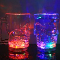 Wholesale Light Up Drinking - Light Up Color Changing Cups Flash Light Leak Proof Water Bottle Acrylic Skull Shape Drinking Glasses For Home Bar Party Celebration