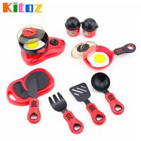 Atacado- Kitoz Mini Kid's Kitchen Toy Frying Pan Pot Dish Modelo Pretend Cooking Toys Set Utensílios de mesa para meninas Meninas