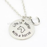 """Wholesale Horse Horseshoes - 2016 new arrive Pet Loss jewelry """"Life is Better with a horse"""" necklace horseshoe Pendant Necklace gifts for horse lovers"""