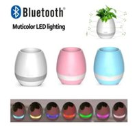 Wholesale Metal Toy Pots - New Smart Mini Flower Pot Plastic Bluetooth Speaker Decoration With Built in Battery Office Decor Planter Colorful Light Creative Music Toy