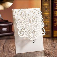 Wholesale Diamond Wedding Invitation Cards - Wholesale-(50 pieces lot) Luxury White Color Hollow Out Wedding Invitation Cards With A Diamond Can Be Customized Inner Sheet CW5001
