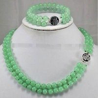 Wholesale Green Jade Plant - 2Rows Natural 8mm Green Jade Gemstones Jewelry Necklace Bracelet Set AAA Grade