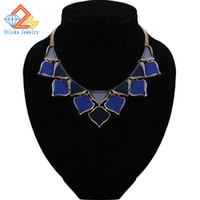 Wholesale Exaggerate Resin Necklace - Fashion Jewelry Bohemian Style Choker Necklace Exaggerated Zinc Alloy Gold Plated Enamel Necklace Free Shipping