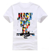 Wholesale Colorful Casual Shirts - Hot Sell JUST DO IT white rainbow printing men's T-shirt Colorful Mens Fashion casual round collar short sleeve shirts Free shipping