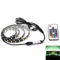 mini usb monitörleri toptan satış-USB RGB LED Şerit 5050 Esnek Yapışkan Bant Çok renkli Düz Ekran HDTV LCD Masaüstü PC Monitör için Aydınlatma Kiti Değiştirme