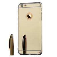 Wholesale aluminum iphone case online - For Iphone Case Mirror Luxury Acrylic Aluminum Metal Case Cover Iphone case For iphone plus