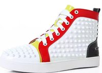 Wholesale cheap footwear for men - drop shipping Cheap red bottom sneakers for men with Spikes white suede fashion casual mens shoes ,2017 men leisure trainer footwear 36-47